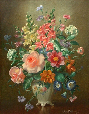 Albert Williams: Roses, Dahlias and Mixed Summer Blooms in a Vase
