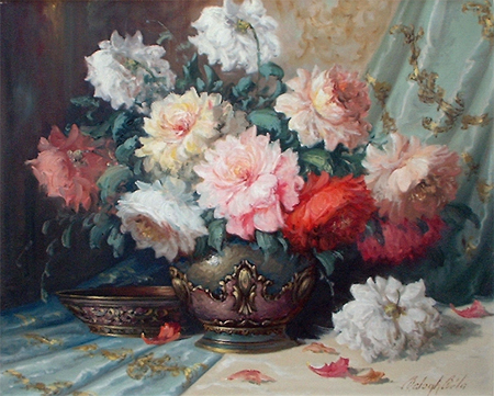 Bela Balogh: Still Life of Chrysanthemums in a Vase