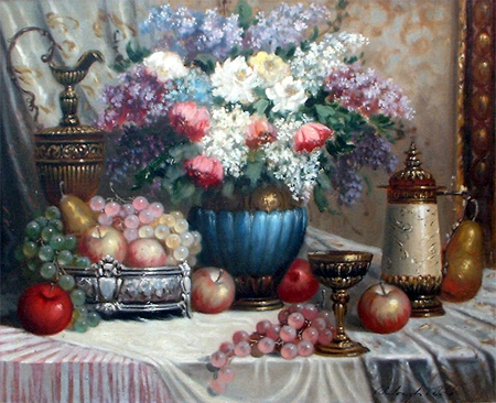 Bela Balogh: Still Life with Flowers, Fruit, Goblet and Beer Stein