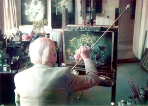 "Cecil Kennedy painting ""Autumn"" in October 1977"