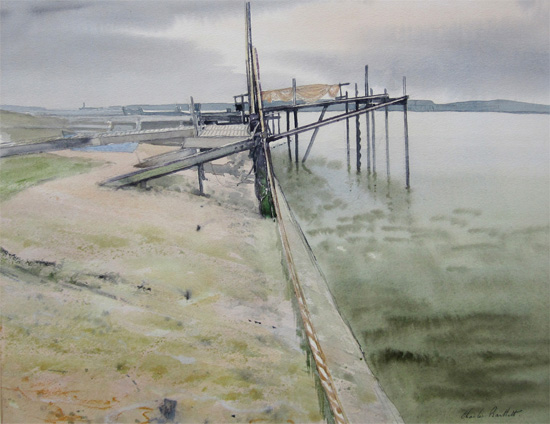 Charles Bartlett: Jetty in an Essex Estuary