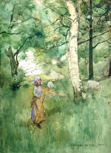 Charles McKay: Shepherdess with Sheep in a Wood