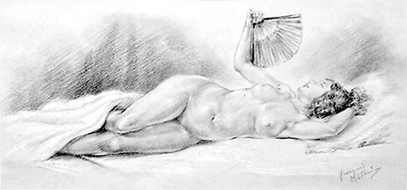 Reclining Nude with Fan by Franco Matania