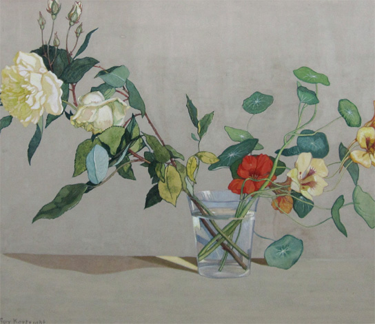 Guy Kortright: Roses and Nasturtiums in a Glass