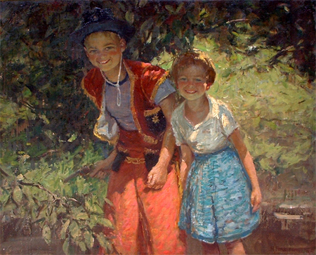 Harry Freckleton: Children Playing in a Garden