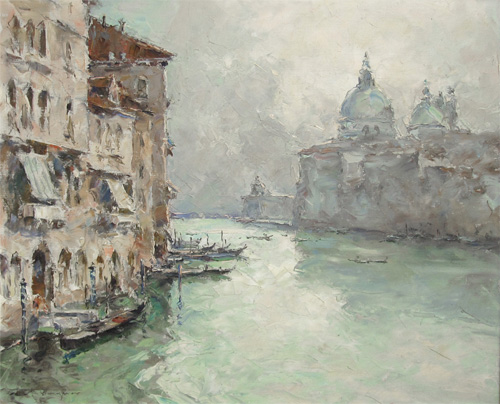 Hermann Edouard Wagner: View of Venice from the Accademia Bridge