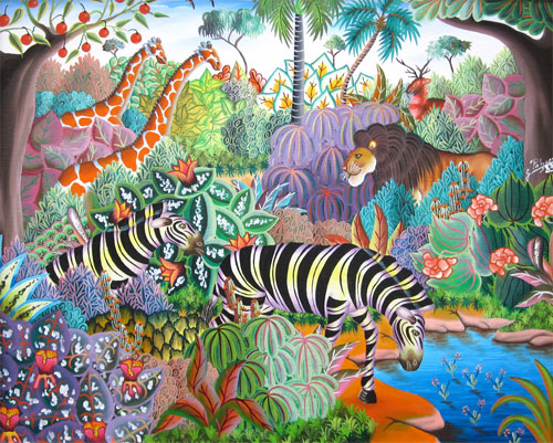 Jerome Polycarpe: Jungle Animals at a Watering Hole