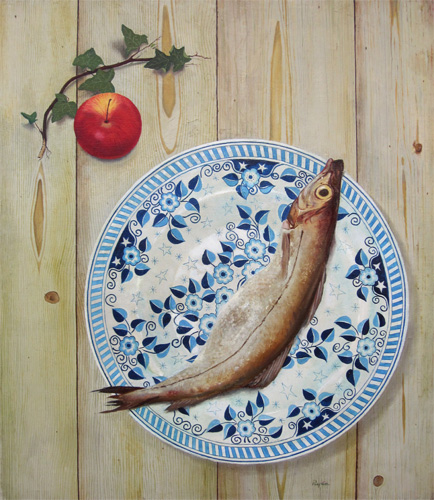 John Ryan: Still Life of Ivy, an Apple, and a Fish on a Plate