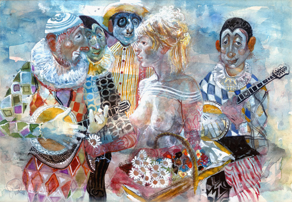 John Uht: A Flower Girl with a Group of Clowns