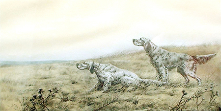 Léon Danchin: English Setters in a Field