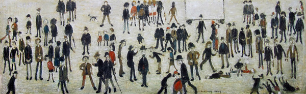 L. S. Lowry: Crowd Around A Cricket Sight Board