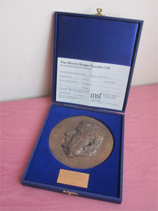 The Lowrys : Bronze Portrait Medallion of Lowry with Certificate