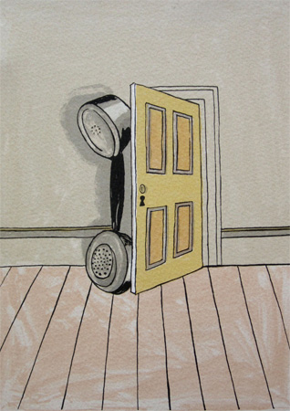 Patrick Hughes: Telephone at Door