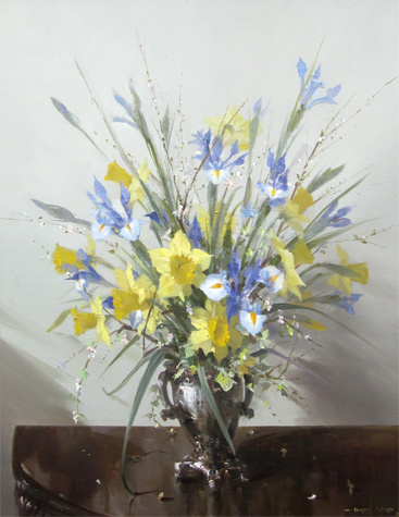 Vernon Ward: Still Life of Daffodils and Irises in a Silver Vase