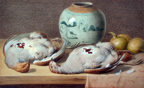William Cruickshank: Still Life of Game Birds with Ginger Jar and Onions