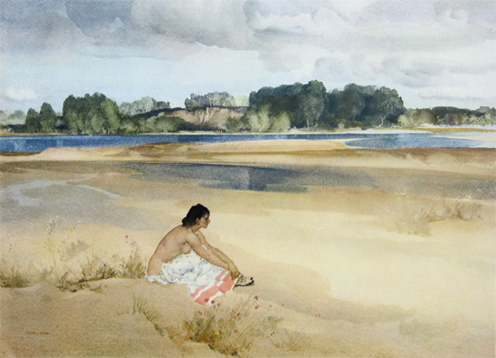 Anne Marie by the Loire by Sir William Russell Flint