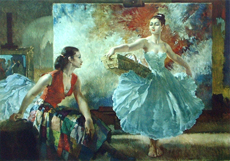 Eve and Yasmin and an Unfinished Picture by Sir William Russell Flint