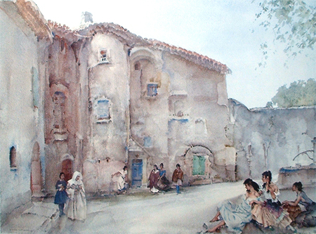 Three Groups, Viviers by Sir William Russell Flint