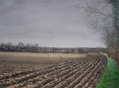 Wladyslaw Mirecki: Ploughed Field With Viaduct