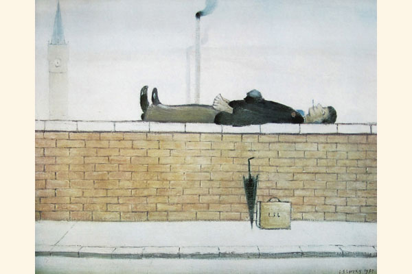 L. S. Lowry: Man Lying on a Wall